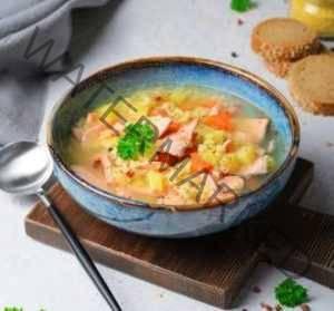 Суп с форелью, опятами и пшенной крупой